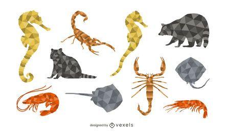 Conjunto de animales de baja poli