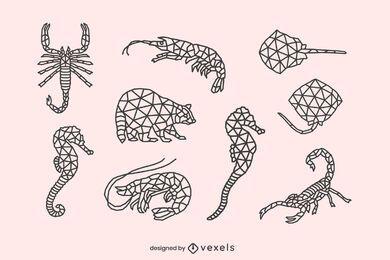 Conjunto de animais com traço baixo