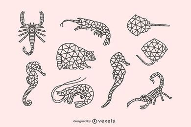 Conjunto de animales de baja poli de trazo.