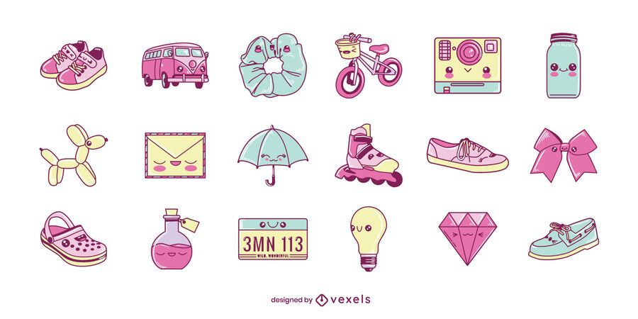 Misc kawaii objects set