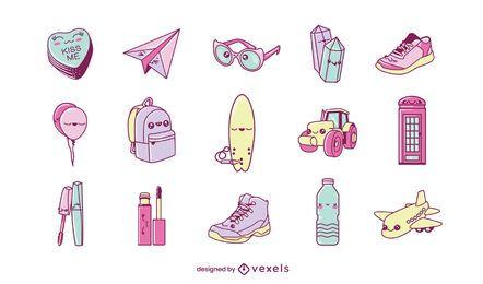 Conjunto de diversos objetos kawaii