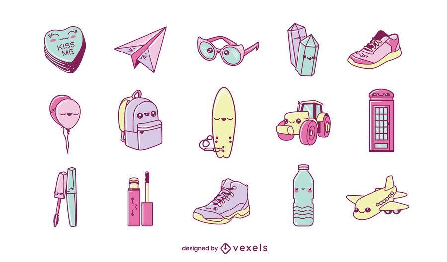 Miscellaneous kawaii objects set