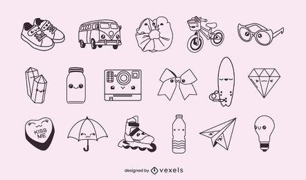 Conjunto de objetos kawaii com traços diversos