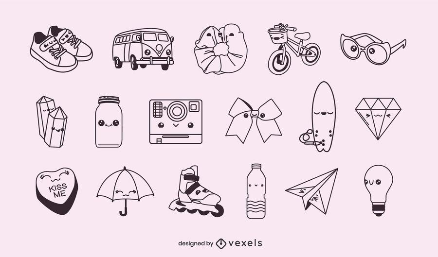 Misc stroke kawaii objects set
