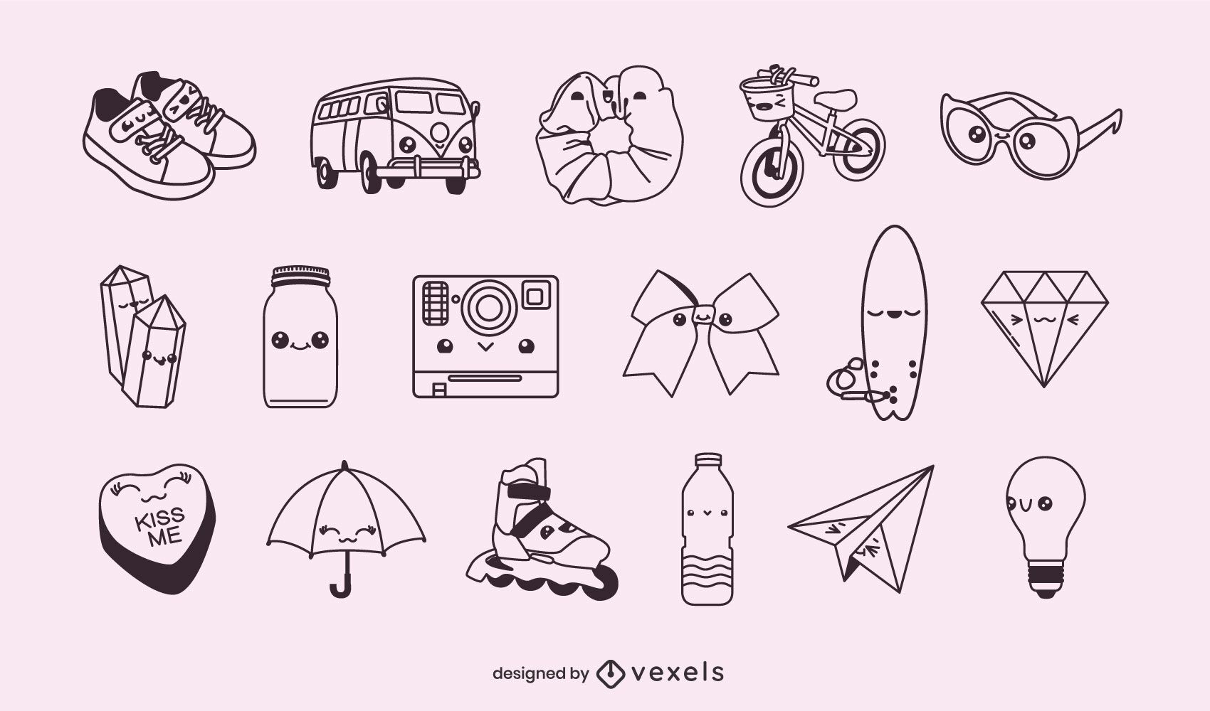 Conjunto de objetos kawaii de trazo misceláneo