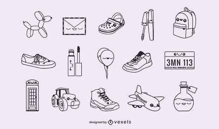 Conjunto de objetos de trazo misceláneo
