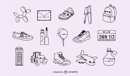 Conjunto de objetos diversos de traço