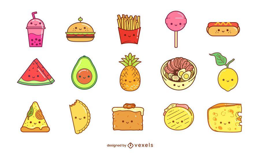 Kawaii food element set