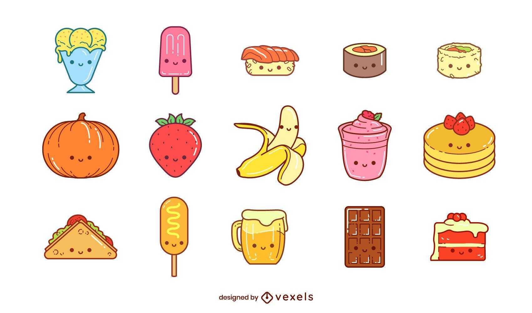 Conjunto de elementos de comida kawaii