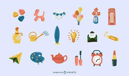 Conjunto brilhante de elementos diversos