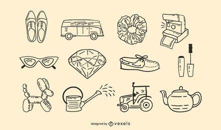 Conjunto de doodle de objetos diversos