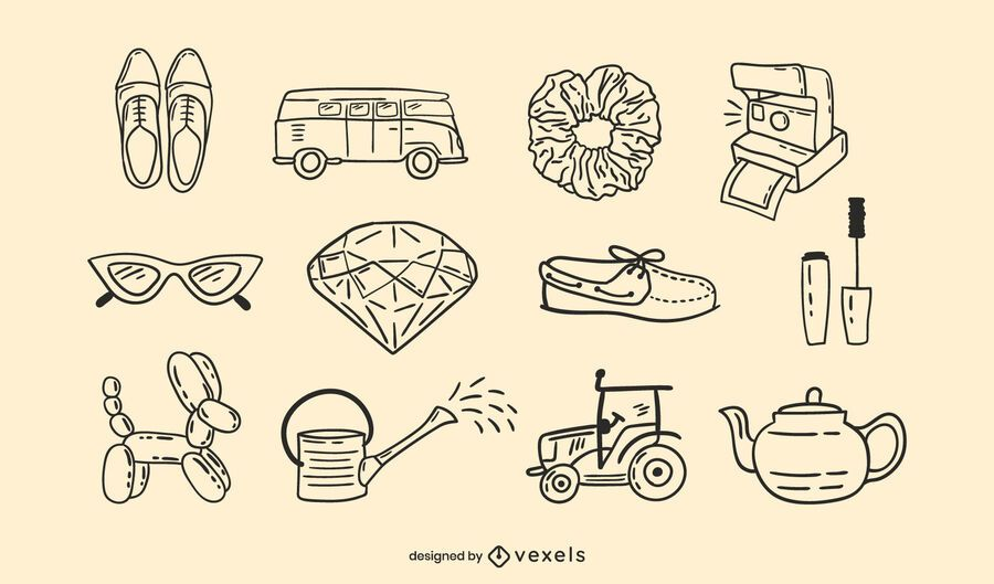 Miscellaneous objects doodle set
