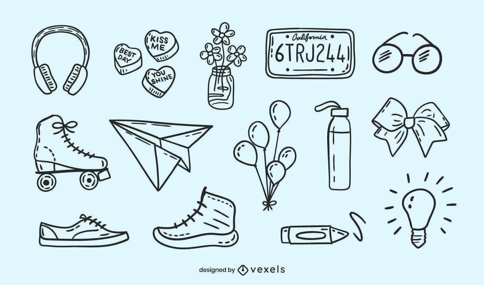 Doodle conjunto diverso