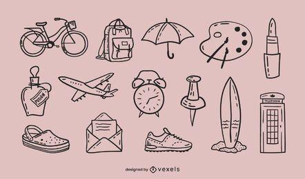 Conjunto de doodle diverso
