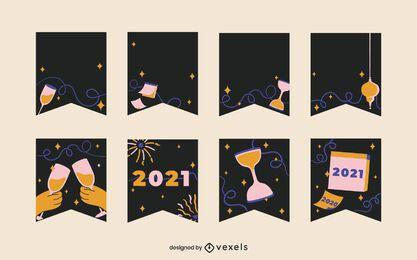 Conjunto de guirnaldas de año nuevo