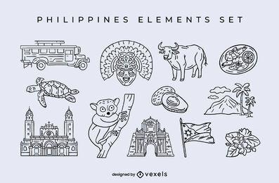 Conjunto de trazos de elementos de Filipinas