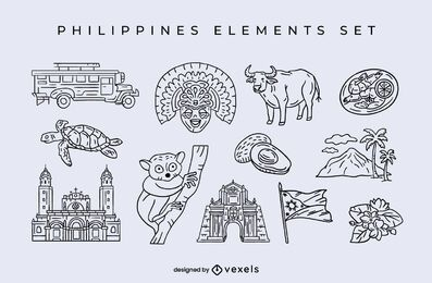 Philippines elements stroke set