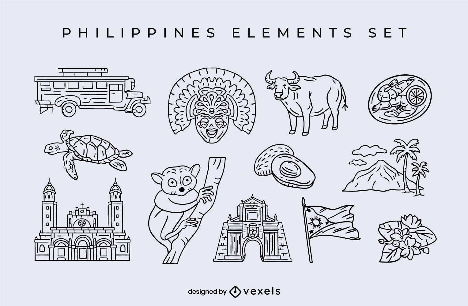 Philippines elements stroke set