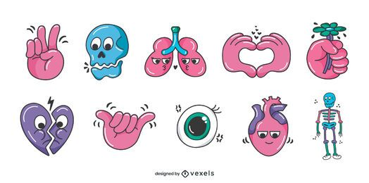 Human body glossy cartoon set