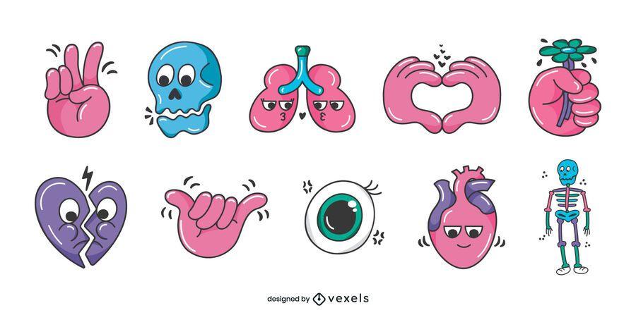 Human body glossy cartoon set
