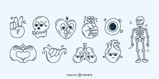 Conjunto de desenhos animados de acidente vascular cerebral