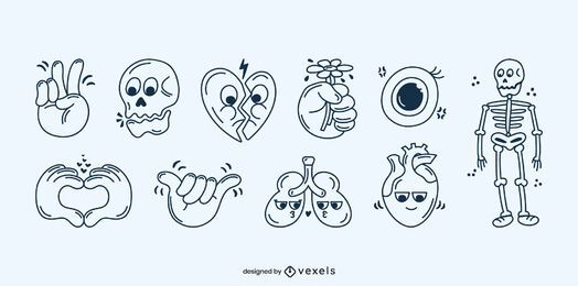 Human body stroke cartoon set
