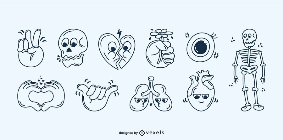 Human body stroke cartoon set