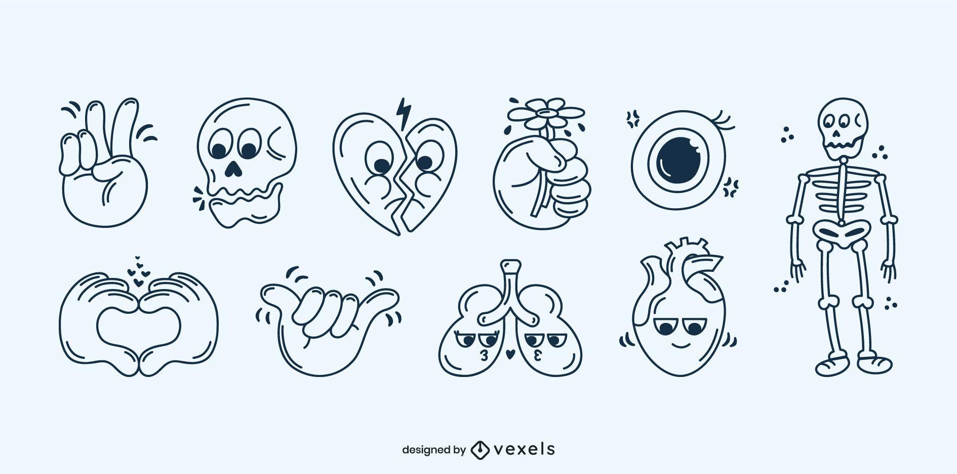 Conjunto de dibujos animados de trazo de cuerpo humano