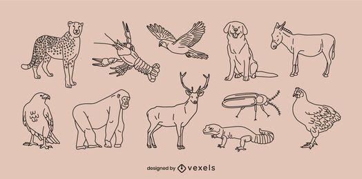 Conjunto de linha fina de animais