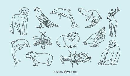 Coleção de linha fina de animais