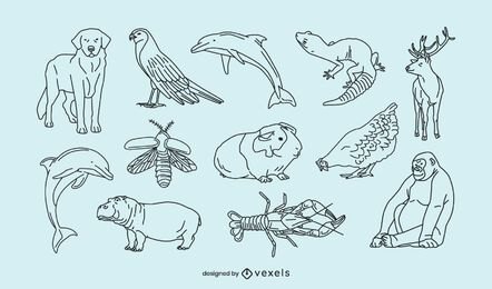 Tiere dünne Linie Sammlung