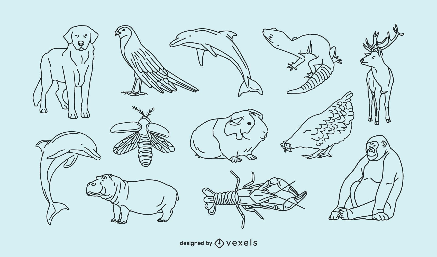 Animals thin line collection