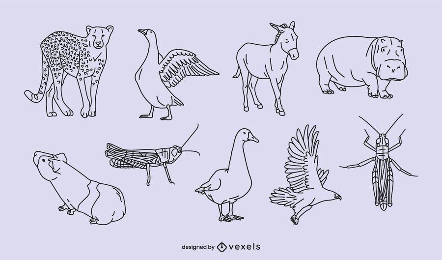 Diseño de escenografía animal delgada