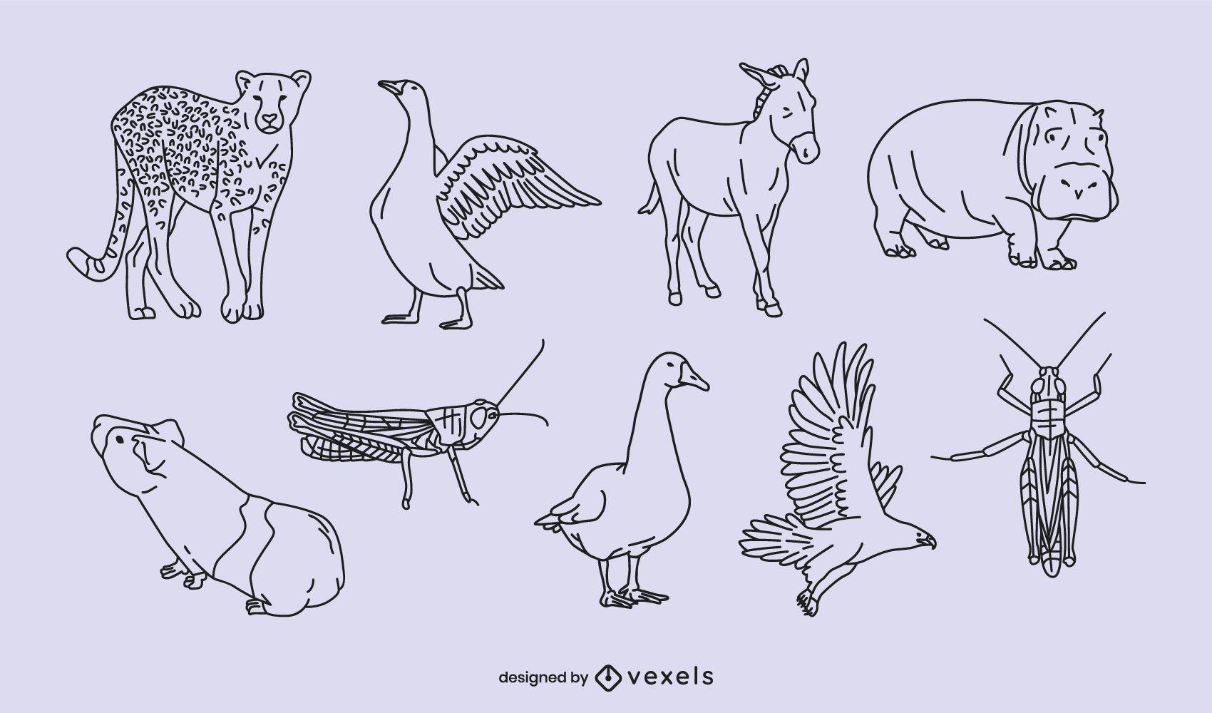 Animal thin line set design