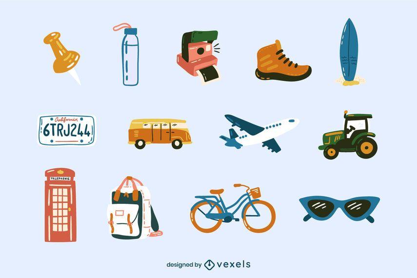 Travel elements color doodle set