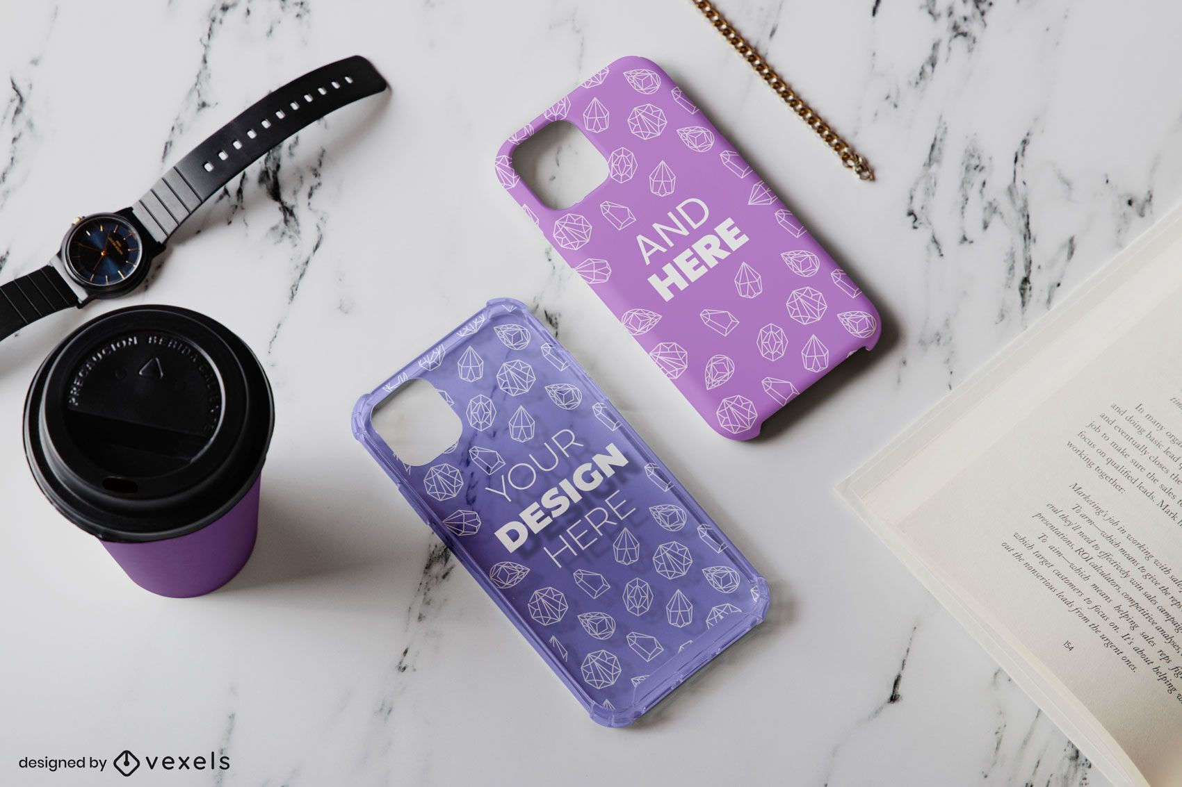 Phone cases cup mockup composition