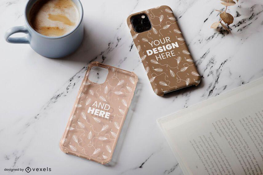 Composición de maqueta de café de cajas de teléfono