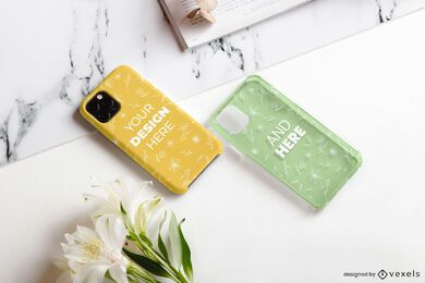 Phone cases flower mockup composition