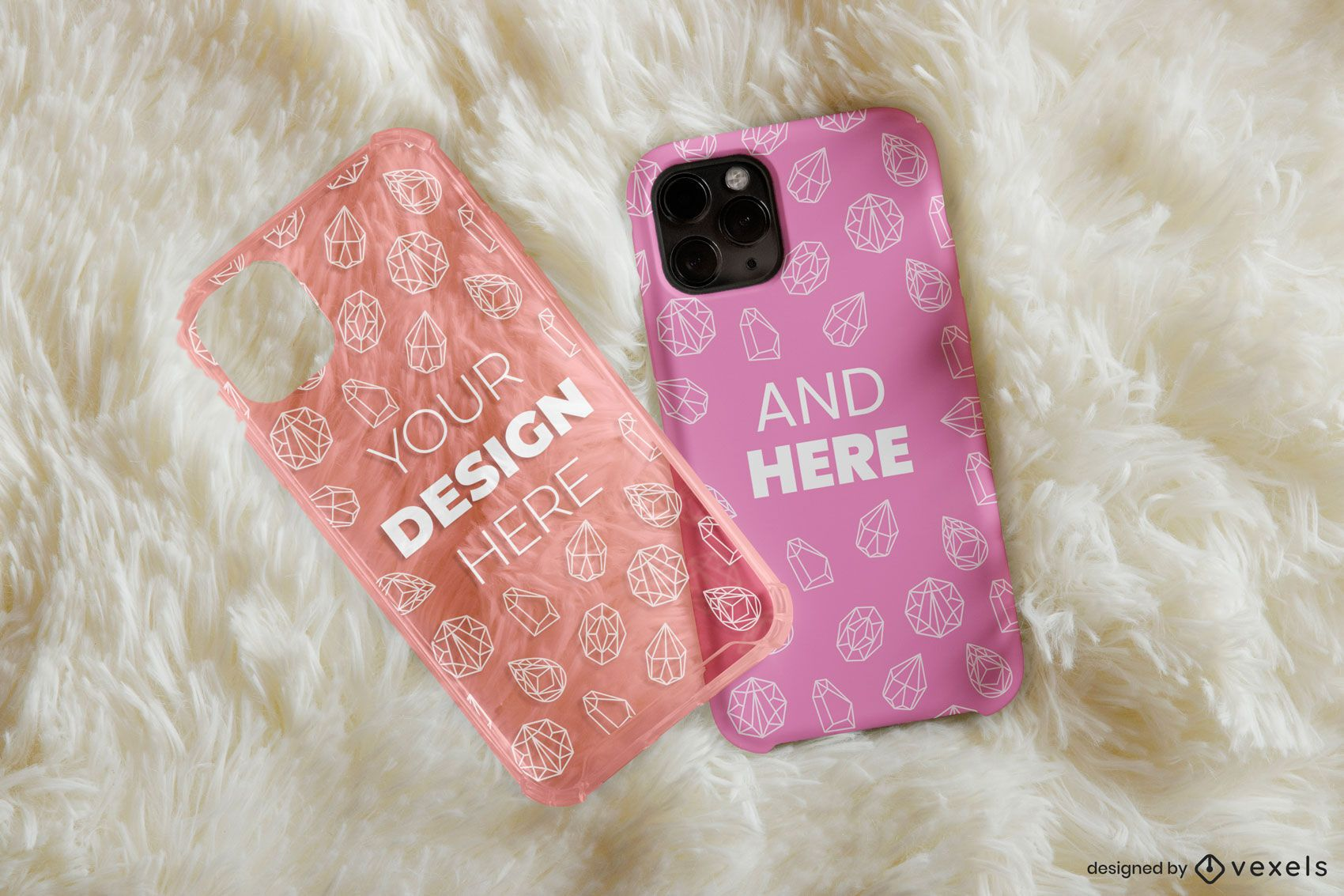 Design de maquete de tapete de capas de telefone