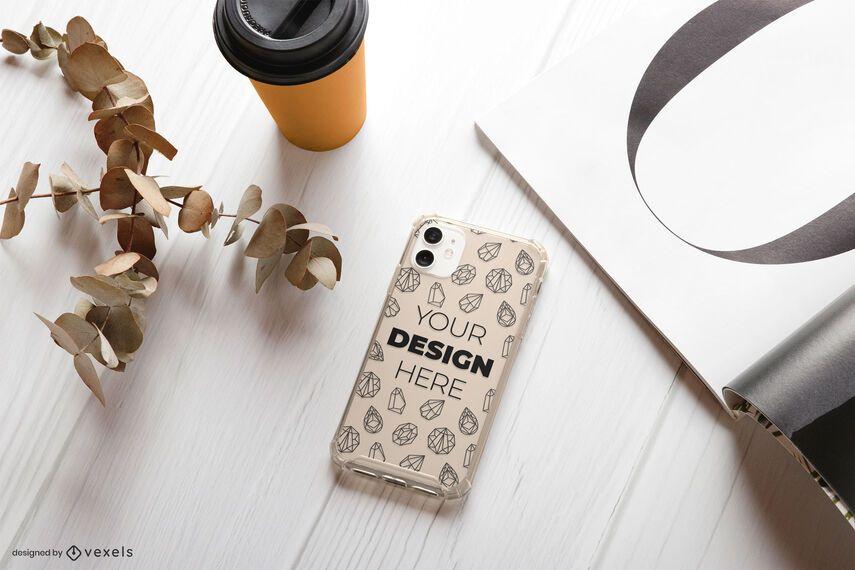 Phone case magazine mockup composition