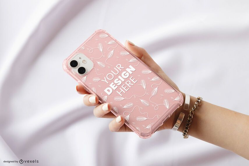 Hand phone case mockup design