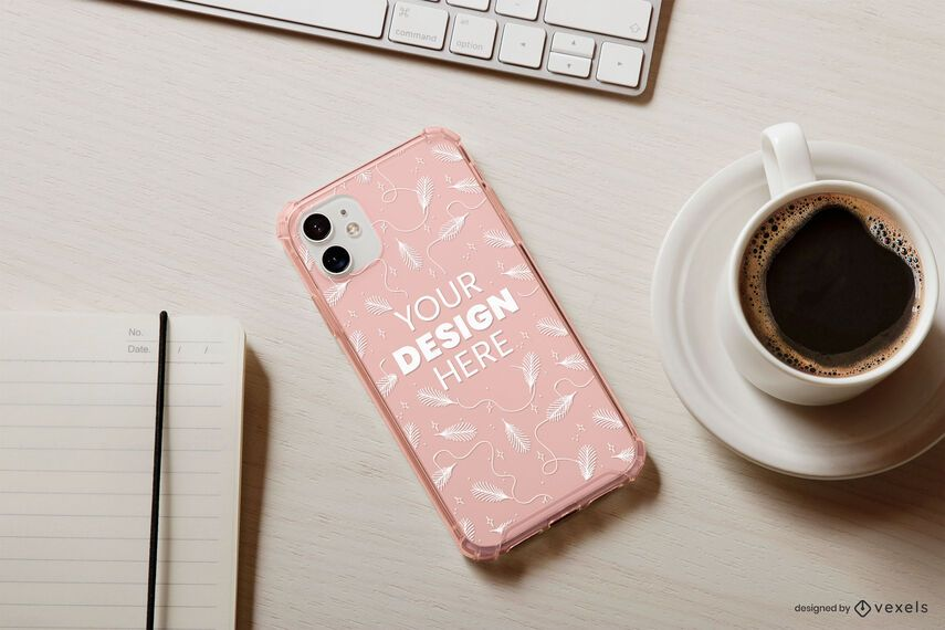 Coffee phone case mockup composition
