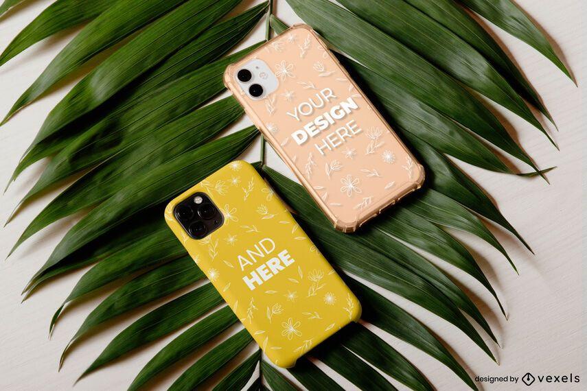 Phone cases leaf mockup set