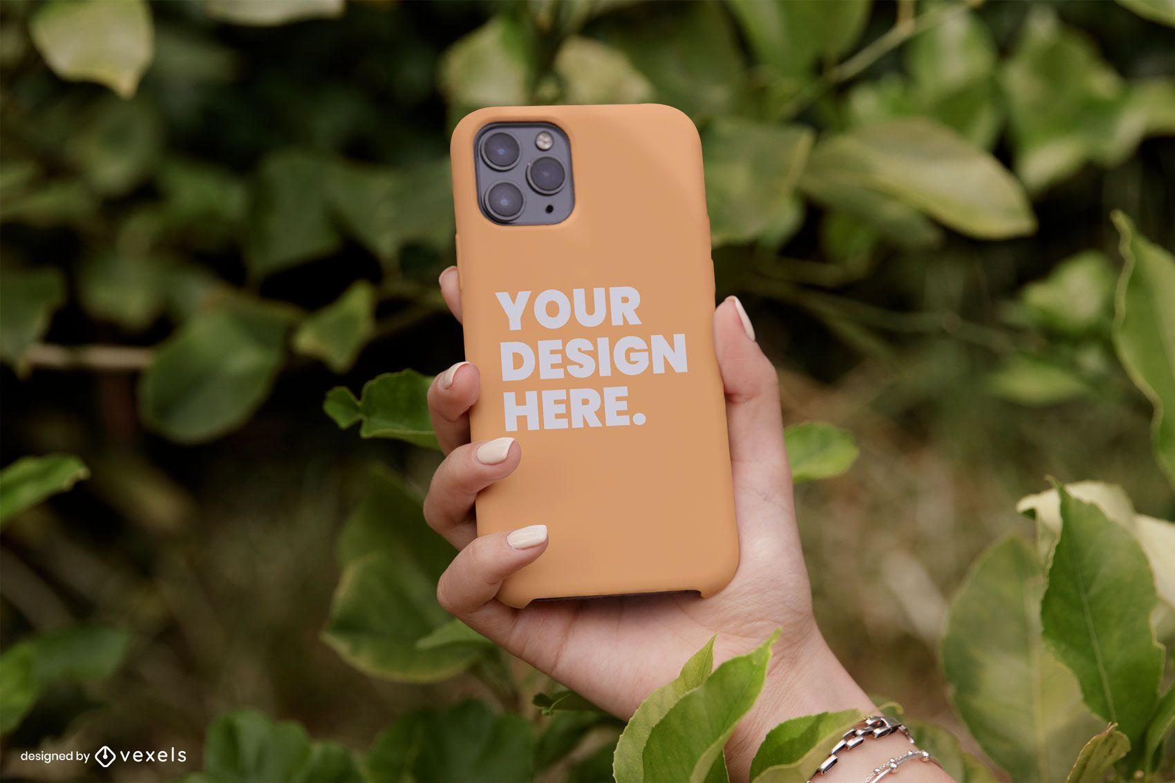 Diseño de maqueta de naturaleza de caja de teléfono