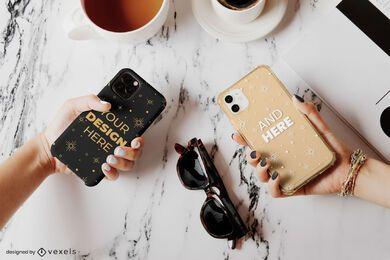 Composición de maqueta de gafas de sol de cajas de teléfono