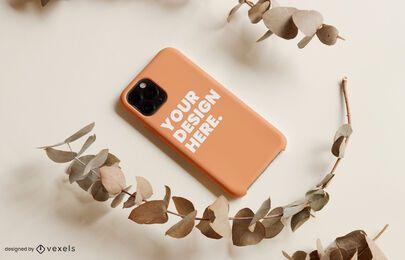 Design de maquete de galho de capa de telefone