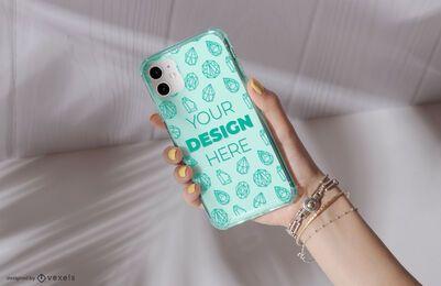 Design de maquete de mão de capa de telefone