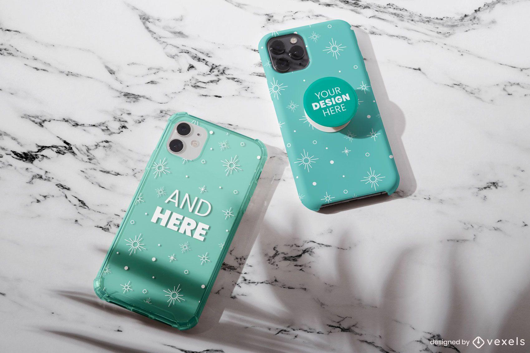 Phone case pop socket mockup design