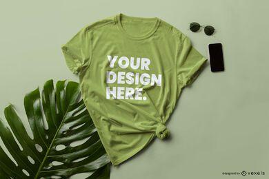 Composición de maqueta de camiseta atada