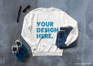 Composición de maqueta de jeans de sudadera